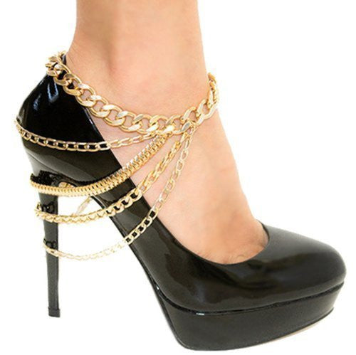 Meiysh Goldtone Shoe Chain with Dangling Cuban and Snake Chains (gold)