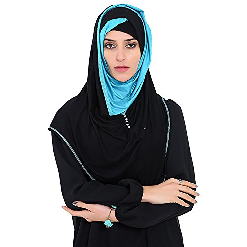Kharadin Women's Muslim Double Colors Hijab Rhinestone Scarf Head Wrap