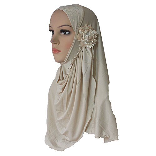 Cogongrass Muslim Hijab Islamic Scarf Woman Amira Cap Beautiful Drill on Head with Sun Flowers Polyester Khaki