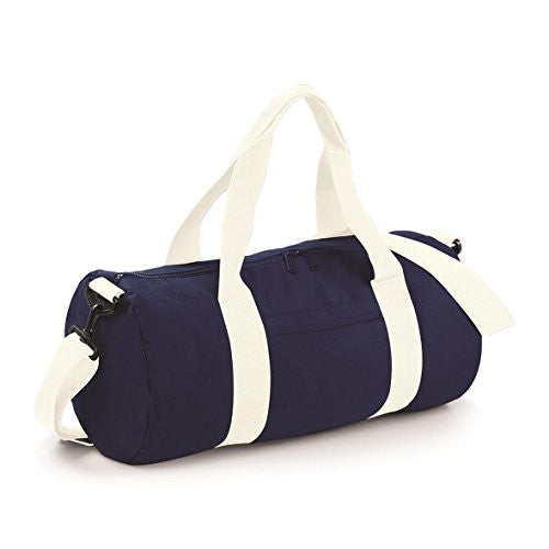 Varsity Barrel Bag by BagBase - French Navy/ Off White