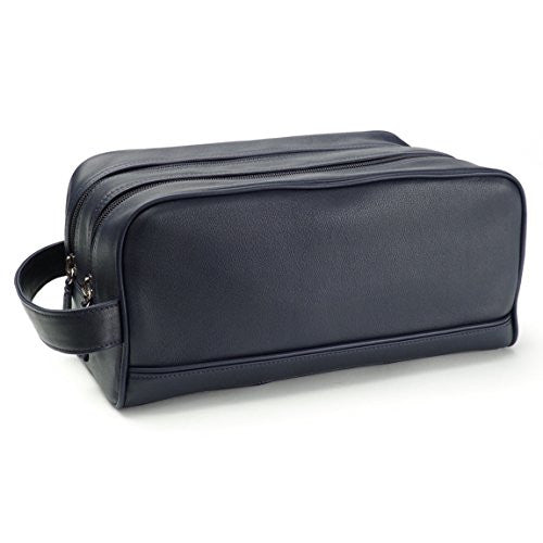 Leatherology Double Zip Toiletry Bag - Full Grain Leather - Navy (blue)