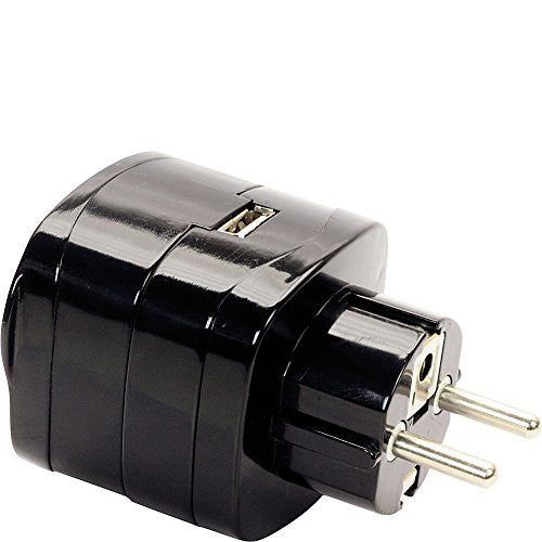 Swiss Gear Travel Accessories Continental Europe Grounded Adaptor Plug With USB