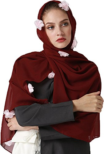 YI HENG MEI Women's Modest Muslim Islamic Soft Chiffon 3D Flower Long Hijab Headscarf 70×28inch,Burgundy