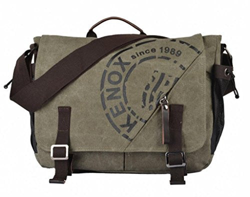 Kenox Canvas Crossbody Messenger Bag Laptop Case Backpack Olive