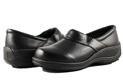 Townforst Womens Slip and Oil Resistant Nappa Leather Slip On Waitress Clog Black 11