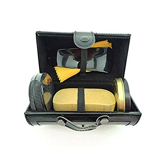 edealing(TM) 1 Set Shoe Polishing Kit High Quality Leather Boot Care Shine Travel Kits Protection