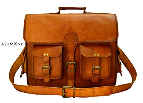 ADIMANI Vintage Handcrafted Leather Laptop Messenger Bag 16 inches