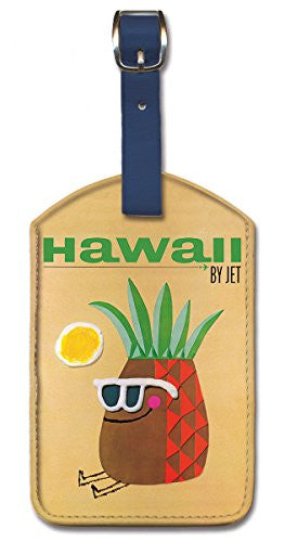 Leatherette Vintage Hawaiian Art Luggage Tag - Pan Am Hawaii Pineapple Head by Phillips