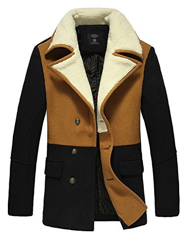 "Only Faith Men's Winter Double Breasted Woolen Coat (Asian 3XL/190cm(chest: 44.88""), camel with black)"