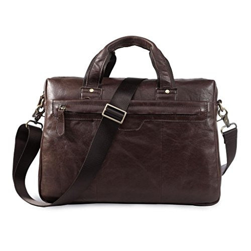 Tom Clovers Genuine Leather Men's Classical Briefcase Laptop Bag Coffee