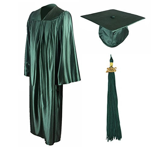"GraduationMall Unisex-adult's Shiny Graduation Gown Cap Tassel Set 2016 Forest Green 54(5'9""-5'11"")"