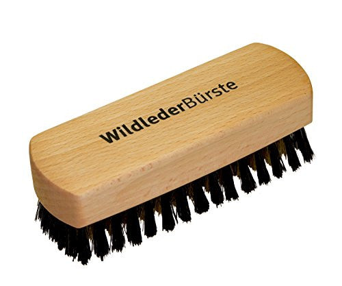 Bürstenhaus Redecker Brass Wire and Natural Pig Bristle Suede Brush with Oiled Beechwood Handle, 4-3/4-Inches