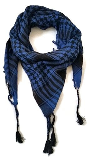 Shemagh Desert Palestinian Arafat Scarf for Men & Women of All Ages (Black & Blue)