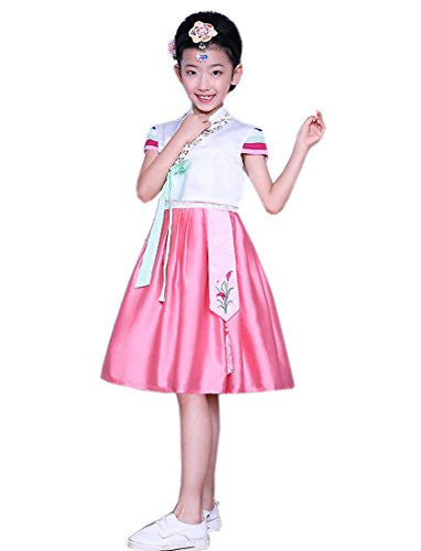Lemail wig Girl Embroidery Traditional Short Sleeve Hanbok Folk Ethnic Cloth