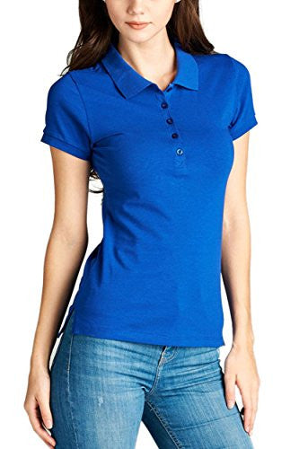 OLLIE ARNES Women's Classic Short Sleeve Collared Shirt Polos With Many Colors 33_ROYAL S