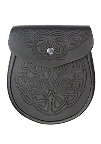 CELTIC EMBOSSED BLACK LEATHER LATCH PIN DETAIL AND CHAIN FOR KILTS SPORRANS