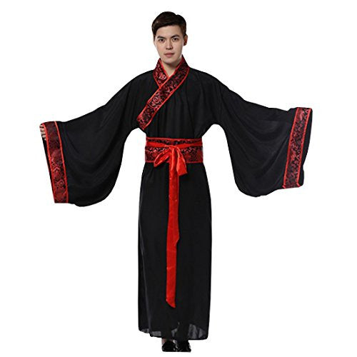 Ez-sofei Men's Ancient Chinese Han Dynasty Costumes Hanfu Robes,small,black
