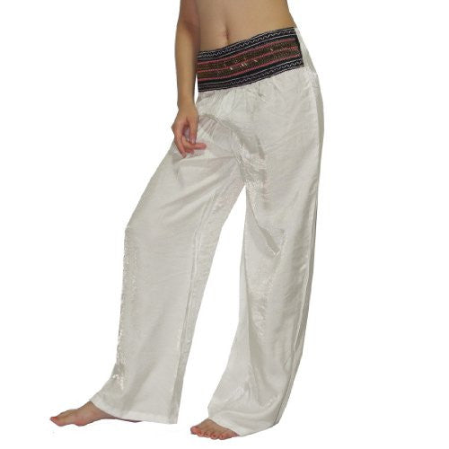 Womens Thai Exotic Casual-Wear Summer Lounging Pants With Beads M-L White