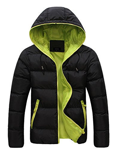 "Only Faith Men's Winter Hooded Cotton Padded Coat (Asian L/175cm(chest: 37.80""), black with green)"