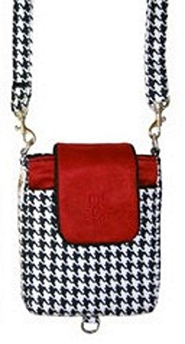 Bagatelles Houndstooth Black and Red Cross-body Passport & Phone Hnads Free Keeper