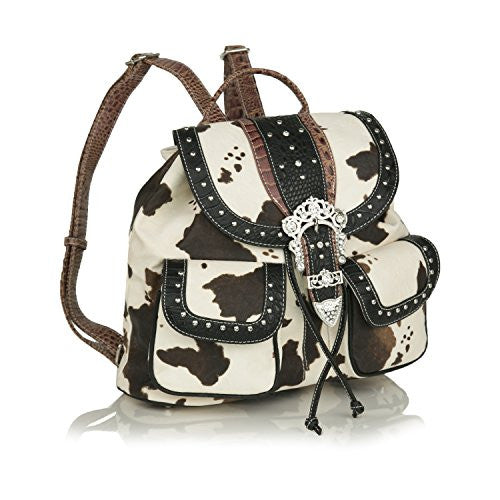 Black Faux Leather Trim Western Bling Backpack, Cow Print w/ Rhinestone Buckle