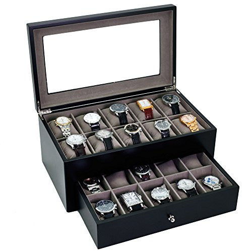 Watch Box for 20 Watches Black XL Extra Large Compartments Fits 65mm Soft Cushions Clearance