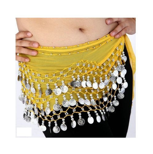 Buy Home Chiffon Dangling Silver Coins Belly Dance Hip Skirt Scarf Wrap Belt (Red)