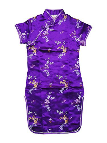 Purple Blossom and Leaves Little Chinese Qipao Dress (4)