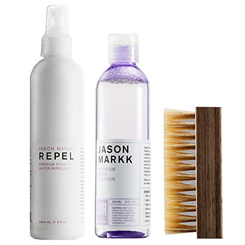 Jason Markk Premium Shoe Cleaner, Repel and Brush (Bundle)