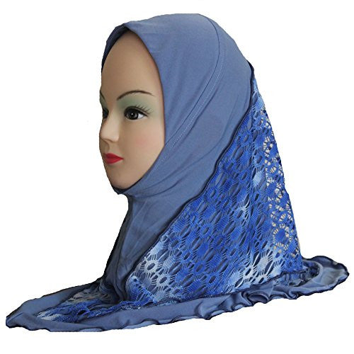 Cogongrass Women Accessories Scarves Wraps Polyester Double Layers Lace Kids Hijab about 45cm Blue