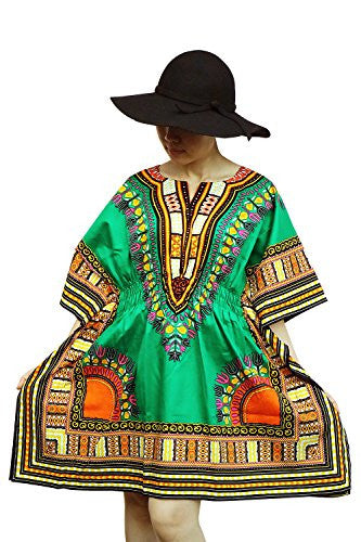 Ornatcha Pha Fai Brand African Dashiki DressElastics around the waist (GREEN)