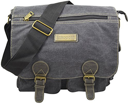 Eurosport Unisex Canvas Messenger/briefcase - Black