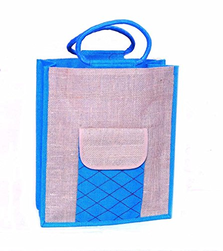 Handmade Crafted Jute Bag Blue & Beige Front Pocket Jute Carry Bag Strong Handle by Prison Inmates