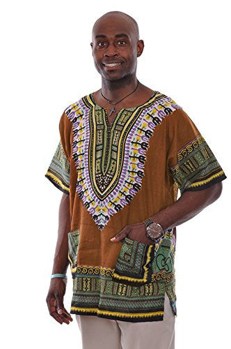 Bronze Traditional African Print Dashiki Shirt L to 6XL (Large)