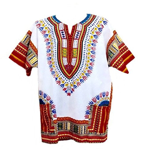 Dashiki Shirt African Top Clothing Kaftan White and Red L