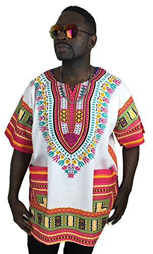 Vipada's Dashiki Shirt African Top Men's Dashiki White and Rasberry L