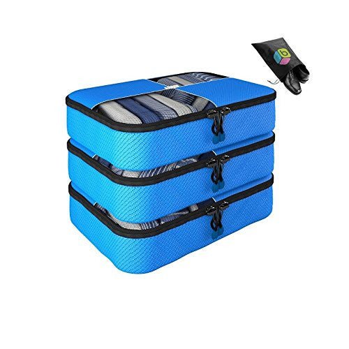 Packing Cubes - 4 pc Value Set Luggage Organizer - 3 Medium + Bonus Shoe Bag Included - Lifetime Guarantee - By Bingonia Travel Accessories (Blue)