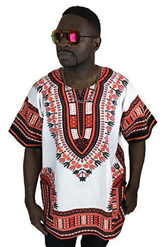 Dashiki Shirt Men's Dashiki African Shirt Large Size Several Colors Chris Brown Dashiki Top (White and Reddish)