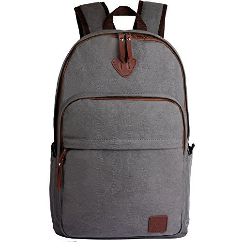 ibagbar Canvas Backpack Rucksack Daypack Travel Bag Hiking Bag Gray