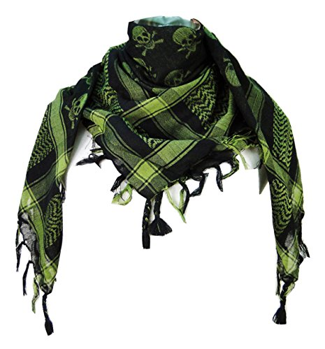 Premium Skull Pattern Shemagh Head Neck Scarf - Green/Black