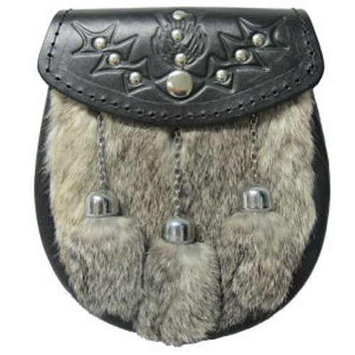 Tartanista Mens Grey Rabbit Scottish Kilt SPORRAN Thistle Studded Flap