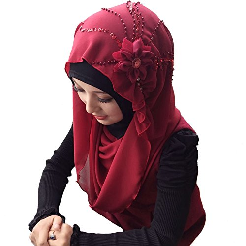 ManY Muslim Flower Scarf Cap Hijab Islamic Neck Cover Headwear Cap (wine red)