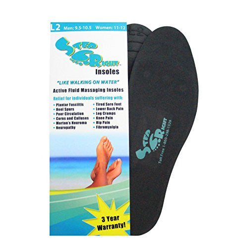 Step Right Insoles Relieves -Plantar Fasciitis- Neuropathy- Poor Circulation- Foot Pain and Heel Spurs (L2 Womens 11-12 : Mens 9.5-10.5)