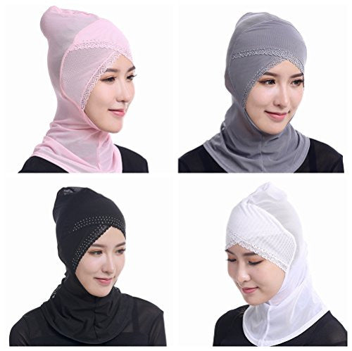 Ksweet 4pcs Hijab Caps Stretch Underscarf Women Hijab Bonnet with Hot-fix Rhinestones (Pink-Grey-Black-White)