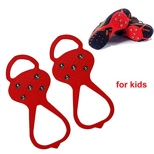 Shaddock Fishing 1Pair with 5 Teeth Ice Shoe Grips Non-slip Snow Shoes Boots Cover Overshoes Step Ice Cleats Spikes Grips Crampons (Red-children)
