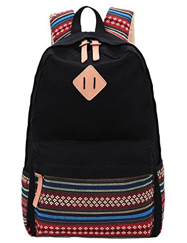 Black Canvas School Bag Backpack Girls, Hmxpls Bohemia Boho Style Unisex Fashionable Canvas Zip Backpack School College Laptop Bag for Teens Girls Students