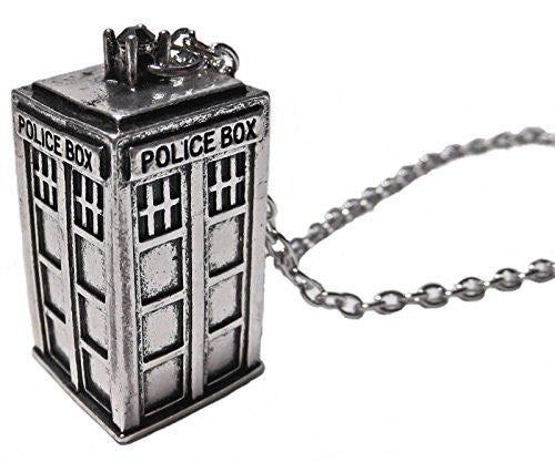 Elegant Fashion TARDIS Necklace Doctor Who 3D Police Box Pendant Chain Gifts New Jewelry*Silver