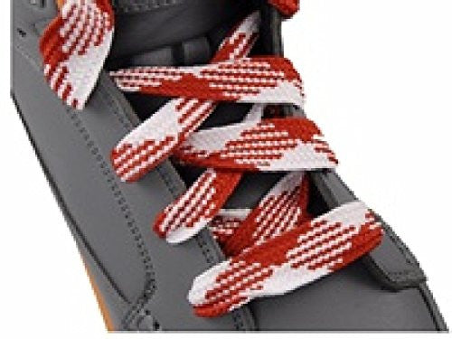 Shoe Laces Flat Thick - 52 Inches Long - Argyle Red / White Shoelaces