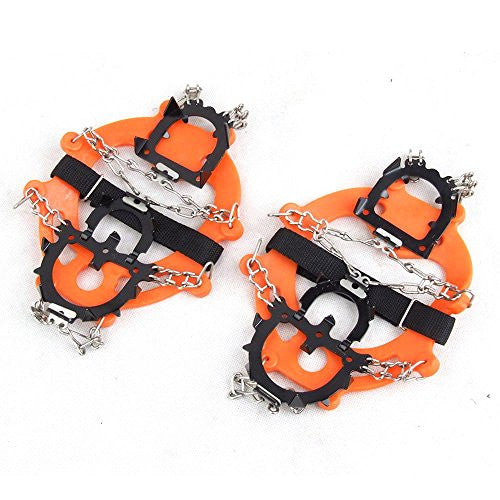 1 Pair 12 Teeth Crampons Claws Non-slip Shoes Cover Stainless Steel Chain Outdoor Ski Ice Snow Hiking Climbing - Orange