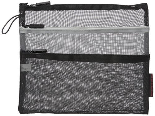 Miamica 3-Zipper Mesh Organizer Travel Pocket, Black